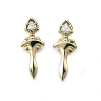 14k Gold Dagger Post Earrings with Labradorite Trillions - Ready to Ship