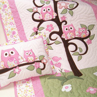 Owl Quilt Blanket, Twin Bedding, Appliqued Girl Quilt