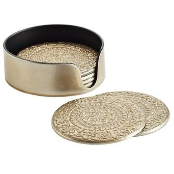 Champagne Embossed Coaster Set