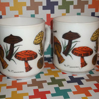 Vintage Arcopal France Singed R. Carman Milk Glass Mushroom Mugs Set of 2 Great Condition