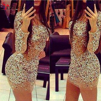 2016 Sexy Sparkly Formal Party Dress Transparent Nude Transparent Beaded Crystal Long Sleeve Mini Short Cocktail Dresses Elegant