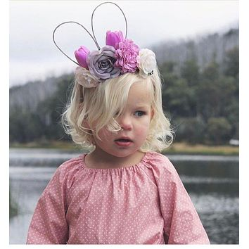 Cut Girl rabbit ear flower headband Kids Party Bridal Wedding Flower Crown Floral hairband hair accessories