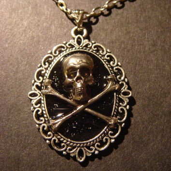 Skull and Crossbone Necklace with a Ornate Victorian Setting/Antique Silver