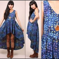 vtg 90s grunge STARS & MOONS mystic batiked draped babydoll fishtail mini dress