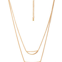FOREVER 21 Teardrop Beaded Necklace Gold One