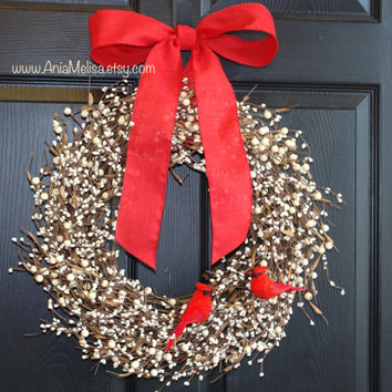 Christmas wreath pip berry berries wreaths welcome weddings wreaths front door wreaths Holidays door decor wreaths