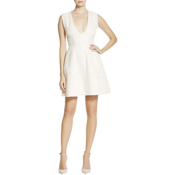 Alice + Olivia Womens Pacey Metallic Textured Cocktail Dress