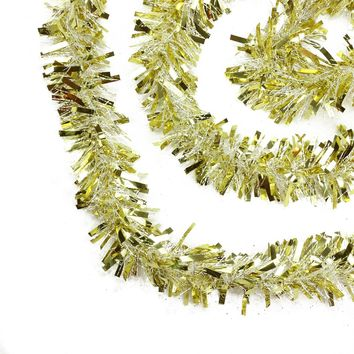 50' Festive Gold and White Thick Cut Christmas Tinsel Garland - Unlit - 6 Ply