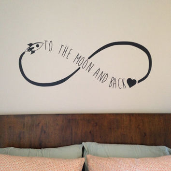 Love You To The Moon And Back Wall Decal Infinite Forever Bedroom