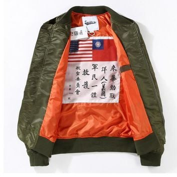 FASHION MA1 bomber jacket men print motorcycle thin jacket windbreaker hip hop men outdoor sport baseball jacket