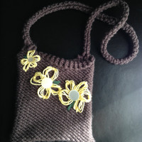 Brown Knit Bag with 3 Yellow Flowers