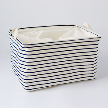 S M L Blue Striped Cotton Storage Basket Storage Bags for Kids Toys Dirty Clothes Folding Organizer Clothes Laundry Basket
