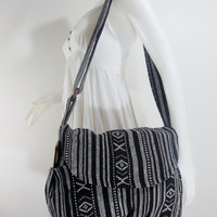 USA SHIPPING** Black / White Handbag Hippie Hobo Crossbody Messenger Boho Bag Hmong Camera Purse Nepali Cotton