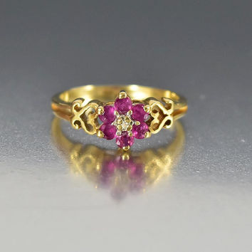 Vintage Estate 10K Gold Heart Diamond Ruby Ring for Pinky