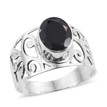 Black Spinel Sterling Silver Ring