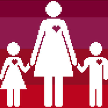 Modern Mother's Day negative silhouette in cross stitch. Contemporary cross stitch chart.