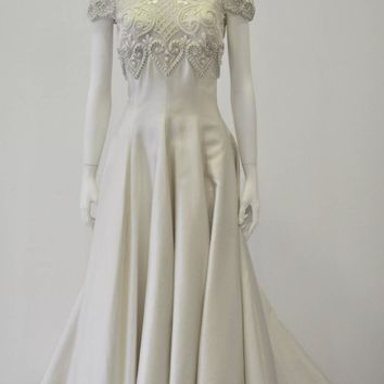 Important Pino Lancetti Hand Embroidered Duchess Satin Wedding Gown