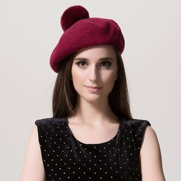2017 New arrived autumn winter wool beret caps hats for women solid decoration rabbit pompom fashion All-match Stewardess hat