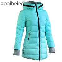 Winter season womens jacket puffer Thigh length ski coat hooded parka trench