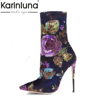 KarinLuna Sexy Women's Flower Print Pointed Toe Thin High Heels Party Wedding Ankle Boots Spring Autumn Shoes Woman Footwear