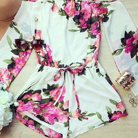 White Floral Print Off Shoulder Flared Long Sleeve Chiffon Romper