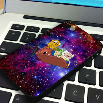 Galaxy Nebula Finn and Jake 4 iPhone 5 iPhone 4 / 4S Plastic Hard Case Soft Rubber Case
