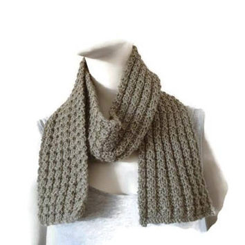 Hand Knitted Wool Scarf, Wrap Scarf, Wool Scarf