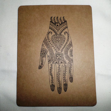 Mendi Boho Indie Henna Tattoo Art Design #3 Upcycle Recycle Indie Note Card with Envelope