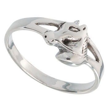 Horse Head With Open Sides Sterling Silver Ring