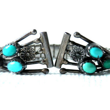 Vintage 70's American Indian Style Watch Band Faux Turquoise Stretch by Nava Twist