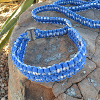 Handmade Paracord Slip Leash, Blue, with Humane Stop