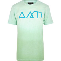 River Island MensLight green Antioch print t-shirt