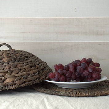 Wicker Outdoor Food Keeper or Candle Plate