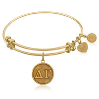 Expandable Bangle in Yellow Tone Brass with Delta Gamma Symbol