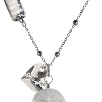 """Daughter - 29"""" Sweater Necklace with Glass Wish Pendant"""
