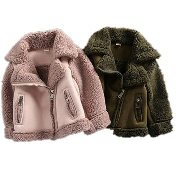 New Girls And Boys Coats Winter Fur fleece jackets Unisex kids Outwear Girls Jacket 7CT069