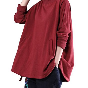 Women's Cotton T-Shirt Tops Blouse Casual Loose Fitting Plus Size