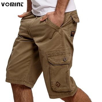 Mens Cargo Casual Fashion Pockets Solid Color Army Green Shorts
