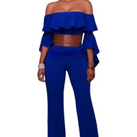 Blue Ruffle Off-The-Shoulder Belted Jumpsuit LAVELIQ