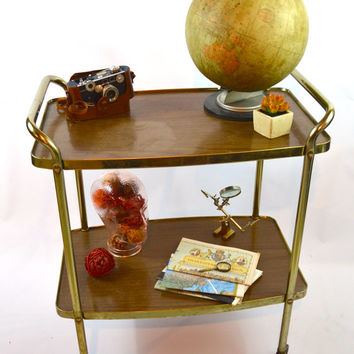 Vintage Gold Bar Cart, Hollywood Regency 2 Tier Cart, Mid Century Rolling Cart
