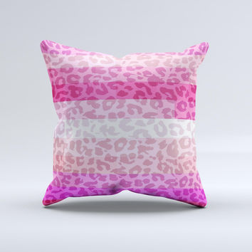 Hot Pink Striped Cheetah Print Ink-Fuzed Decorative Throw Pillow