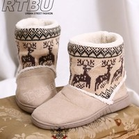 REINDEER Suede Nordic Knit Winter Boot Wool Fleece SAND