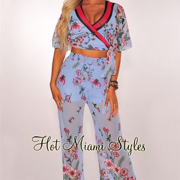 Sky Blue Floral Wrap Palazzo Two Piece Set