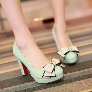 Big size 34-43 vintage style woman small bowtie platform women's pumps lady's sexy high heels shoes woman