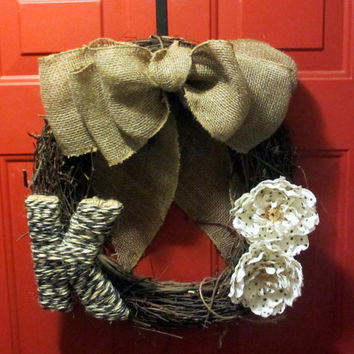Jute Monogrammed Grapevine Wreath - Burlap Bow - Door Decor - Fabric Flowers - Year Round Wreath