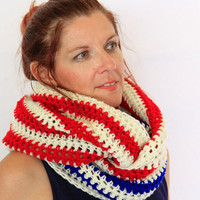 Striped eternity scarf, red blue white stripes, Calypso Stripes, striped infinity scarf, winter fashion vegan friendly, ready to ship