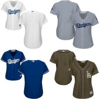Women los angeles dodgers jersey #blank Cool Base Baseball Jersey Ladies Embroidery Stitched size S-2XL