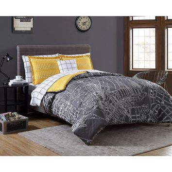 Essential Home Complete Bed Set - City Scape