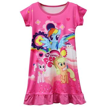 New Hot Sale My Baby Girls Pajamas Dress Children Girl Little Pony Dresses Cartoon Unicorn Costume Kids Clothes Summer Clothing