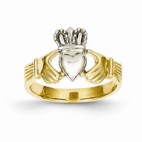 Claddagh ladies ring 14kt two tone gold ring